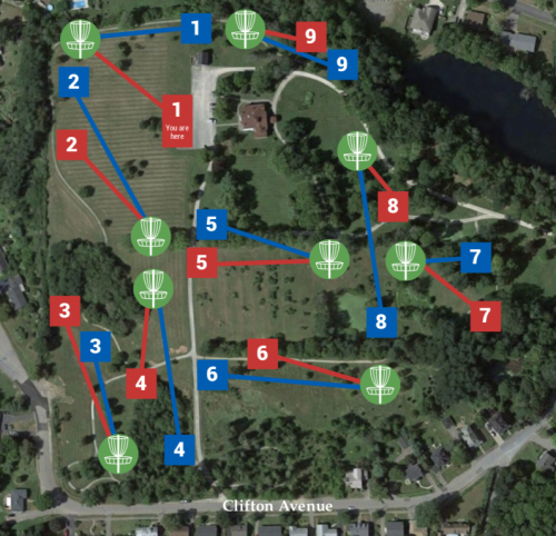 Clifton Estate Disc Golf Course - Map